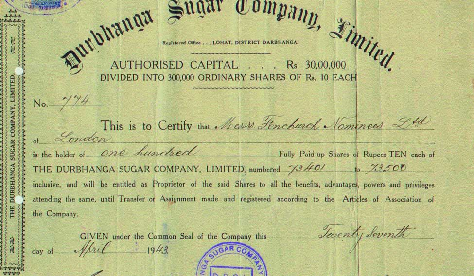Hidden Treasures: Share Certificates That Gujral Has Dug Up Over The Years.  Company Share Certificates