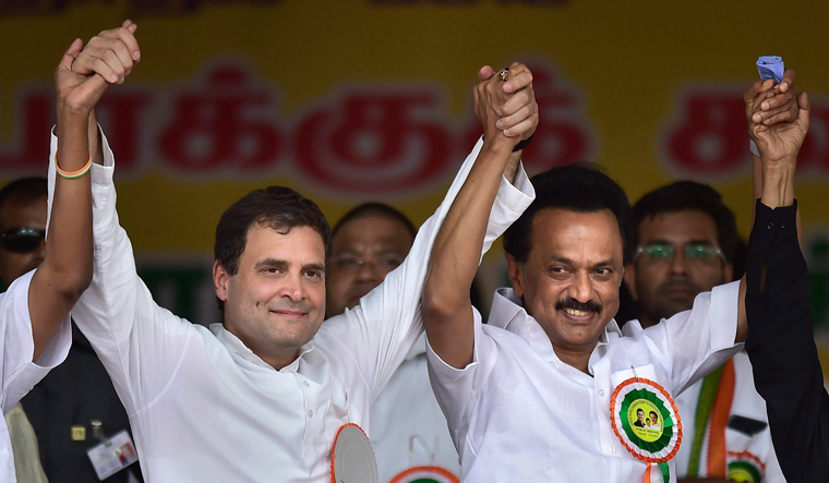 TN: DMK front dominates in early trends; Karti, Kanimozhi ahead