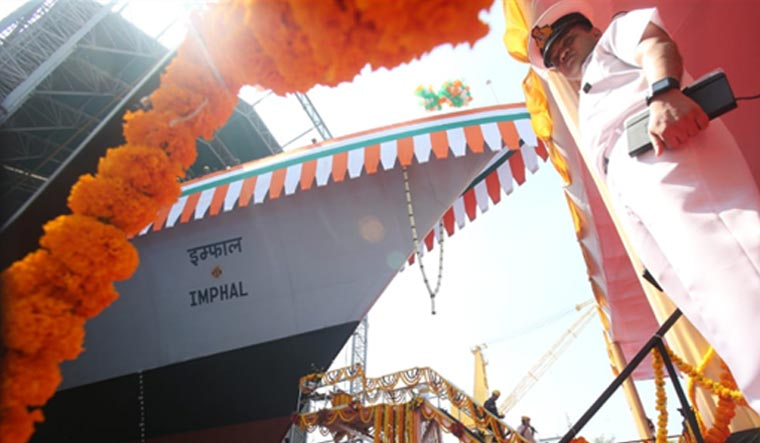 Indian Navy launches new stealthy guided missile destroyer — INS Imphal