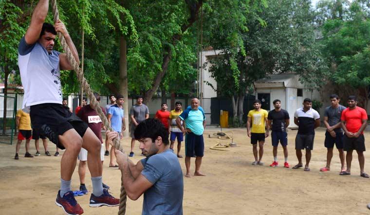 Sushil Kumar training Chhatrasal Stadium PTI.
