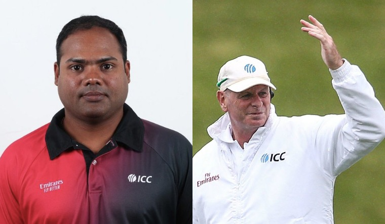 A collage of Nitin Menon (BCCI Twitter handle) and Paul Reiffel (ICC Twitter handle)